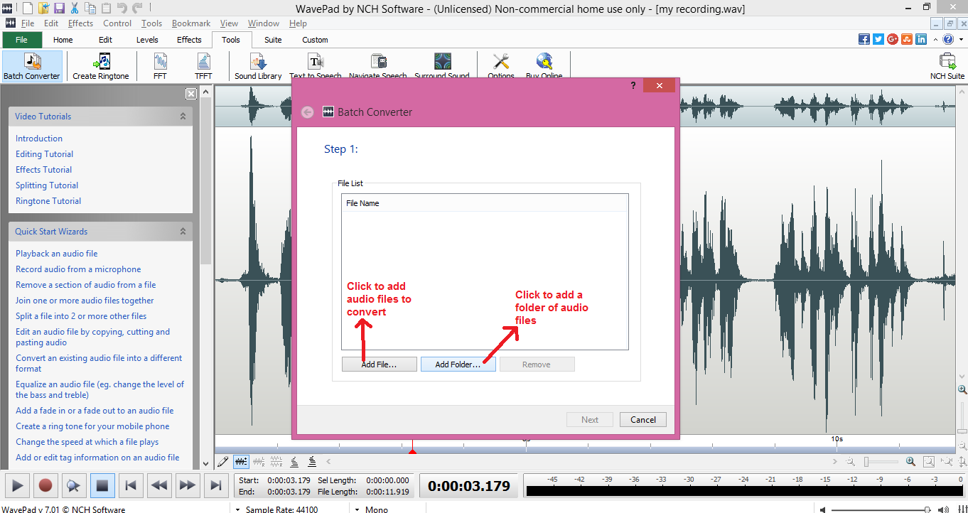 wavepad sound editor batch add