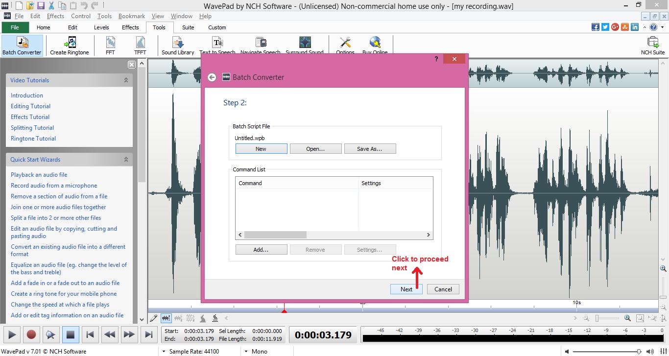 wavepad sound editor batch next