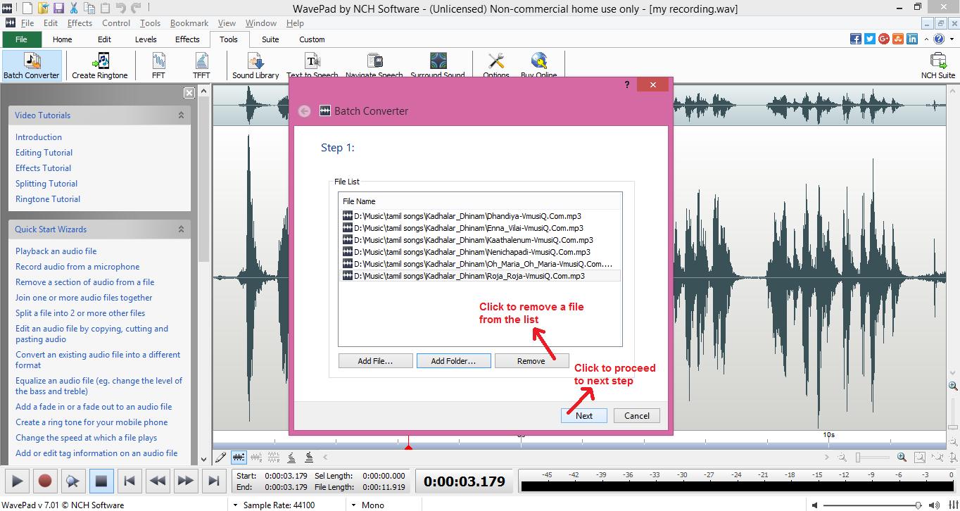 wavepad sound editor batch remove
