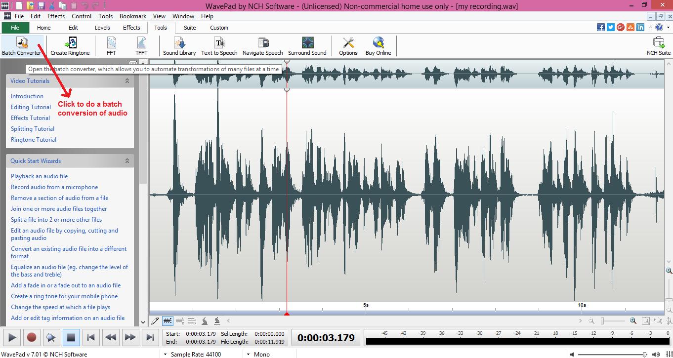 wavepad sound editor batch