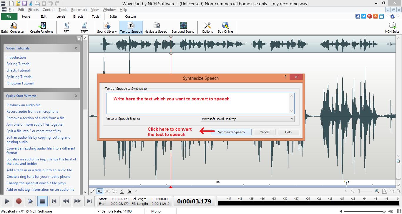 wavepad sound editor text-speech write