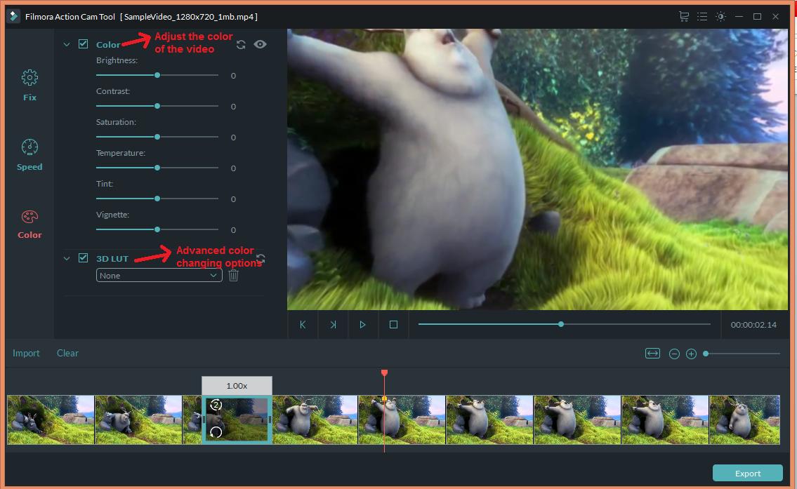 wondershare video editor actioncam color
