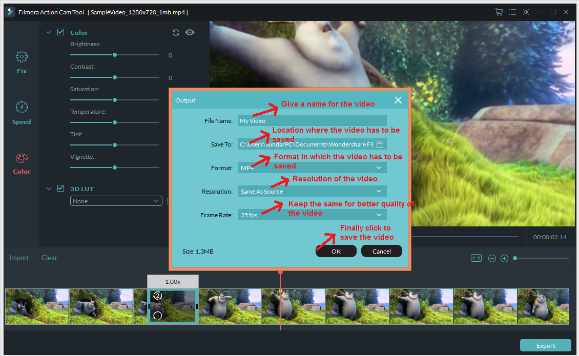 wondershare video editor actioncam exportdetails