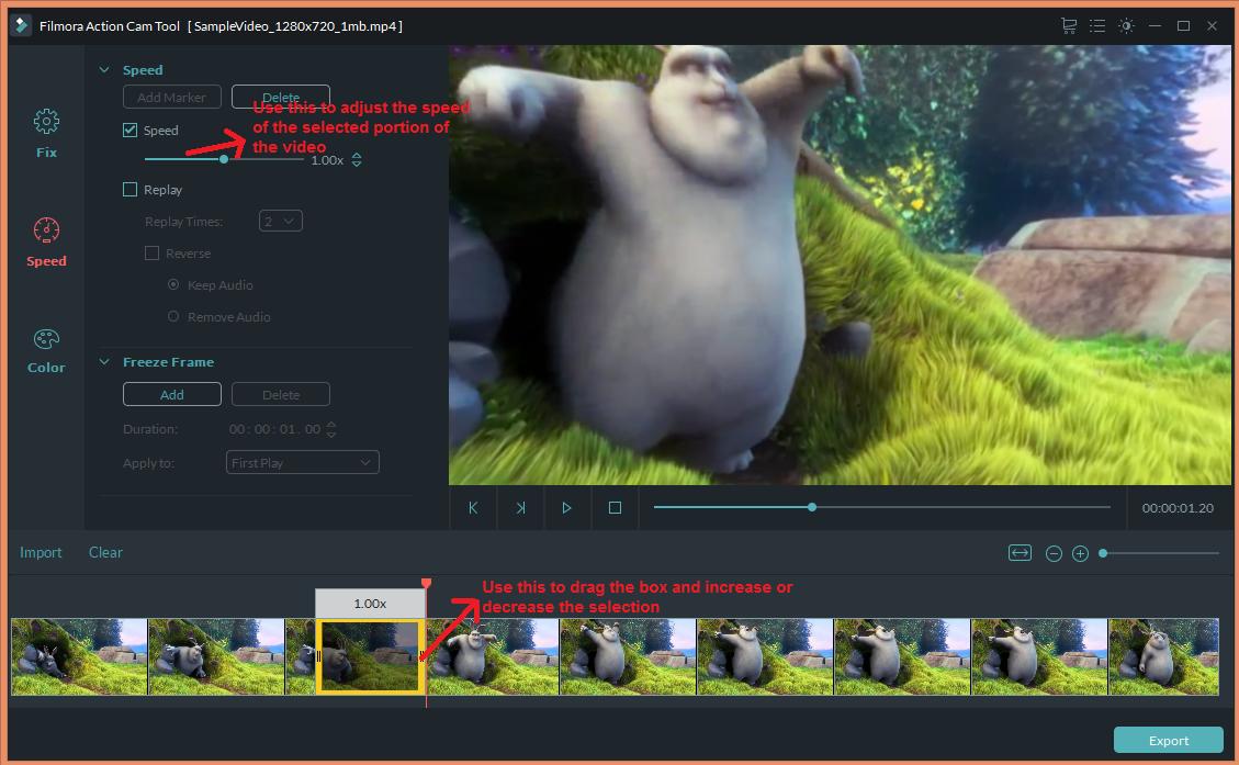 wondershare video editor actioncam speedadjust