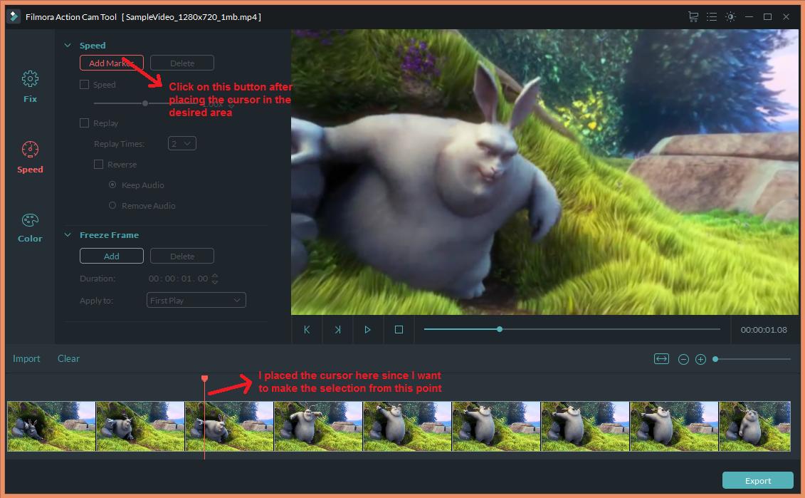 wondershare video editor actioncam speedselect