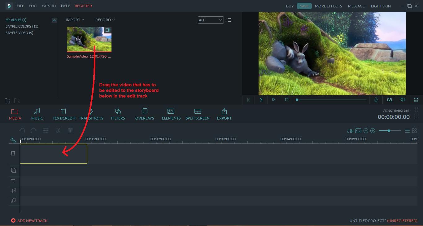 wondershare video editor dragvideo