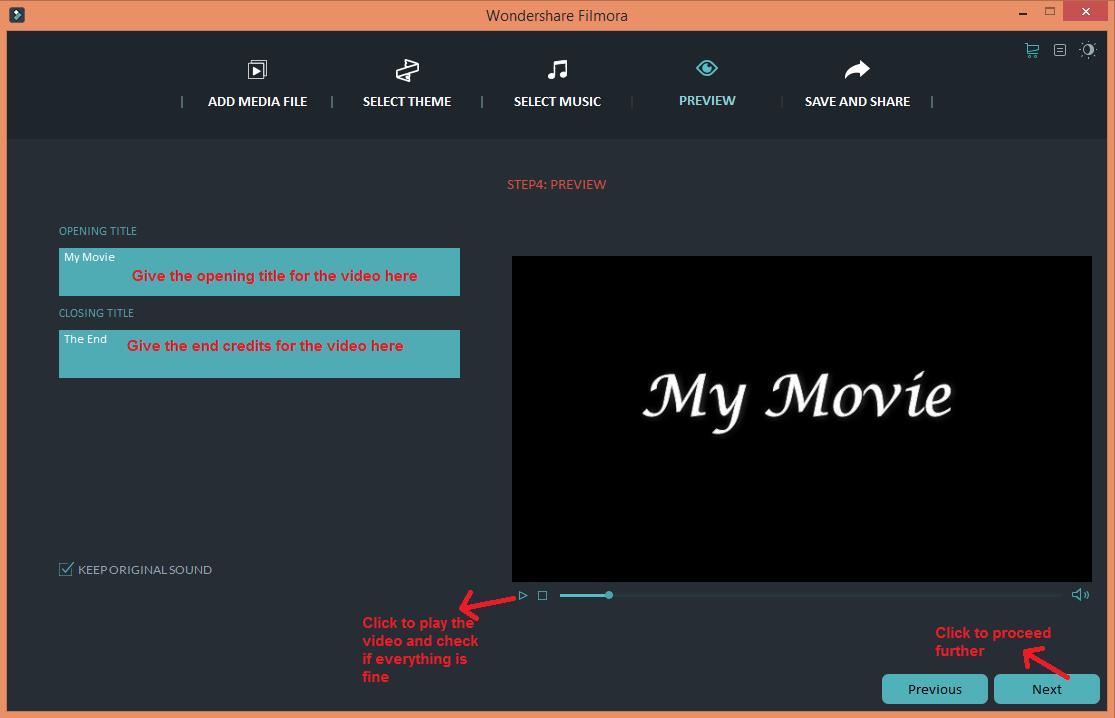 wondershare video editor easymode play