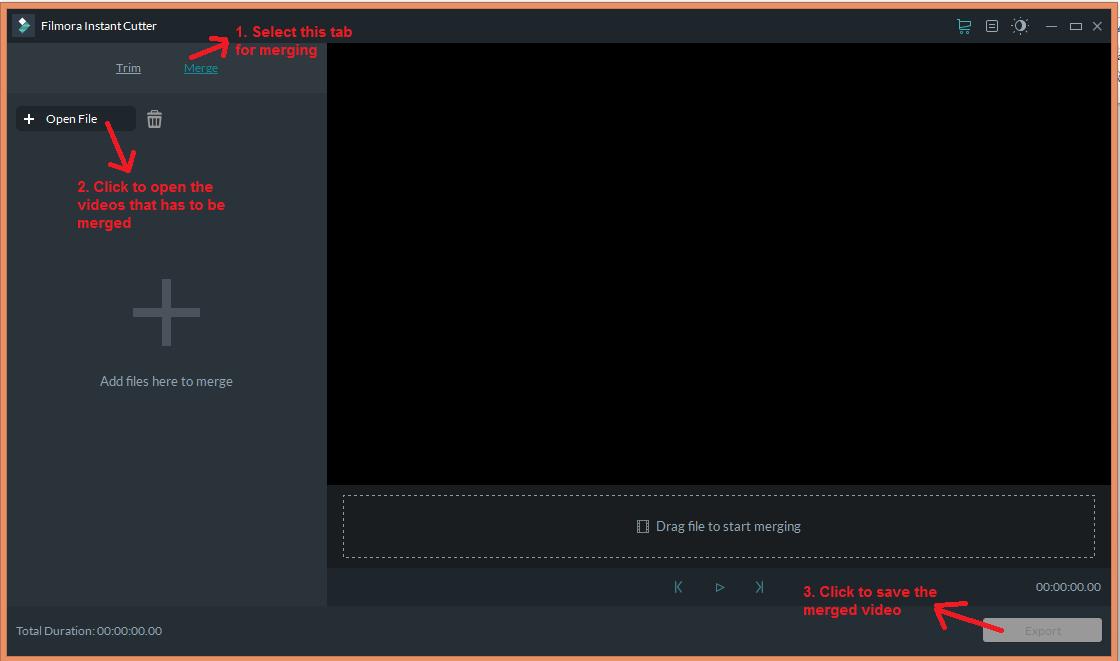 wondershare video editor instantcutter merge