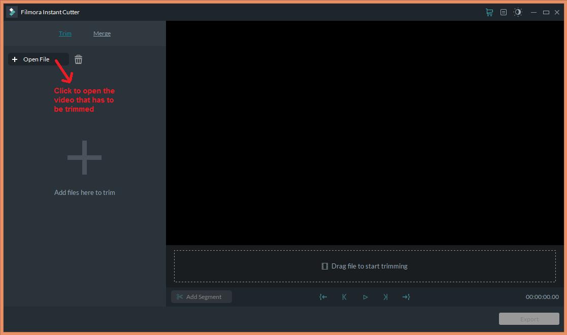 wondershare video editor instantcutter open
