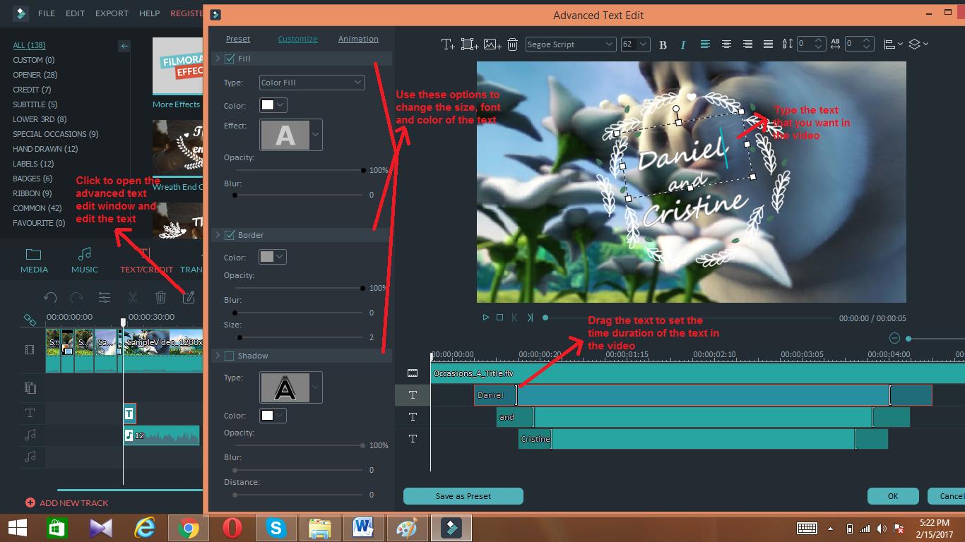 wondershare video editor textedit