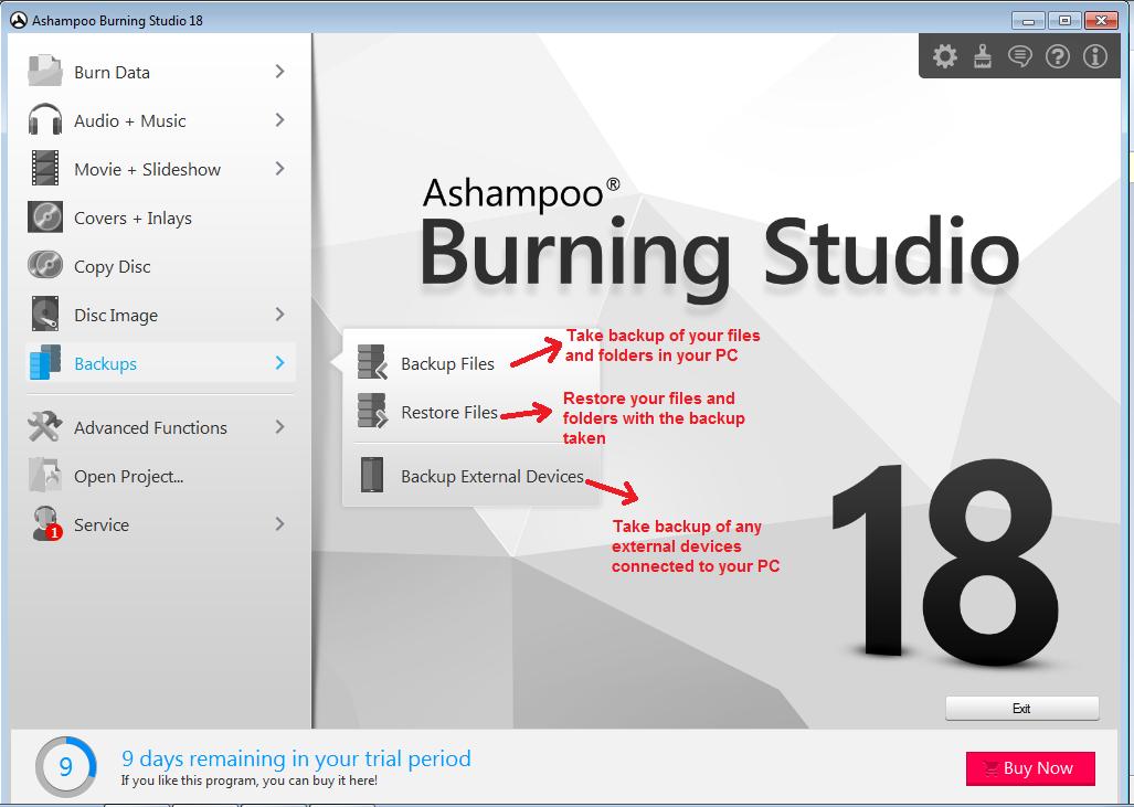 Ashampoo Burning Studio backup