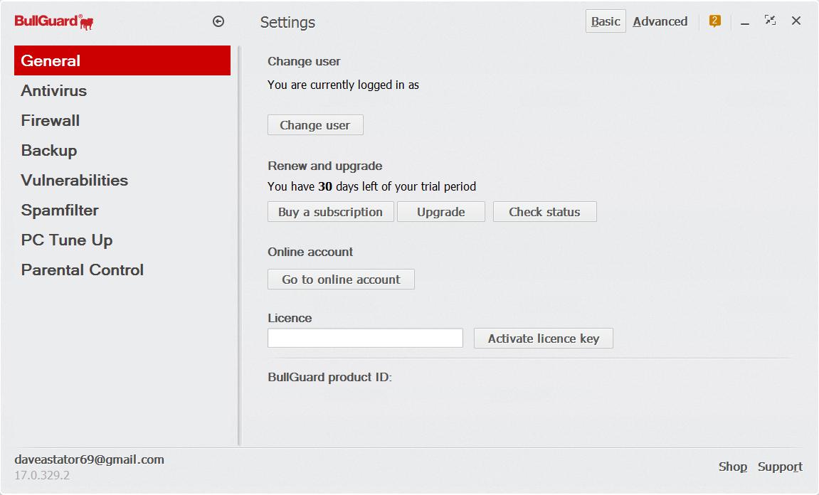 Bullguard Internet Security Settings