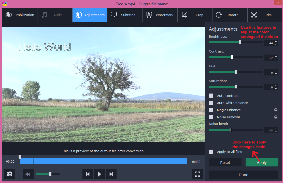 movavi video converter edit adjustments