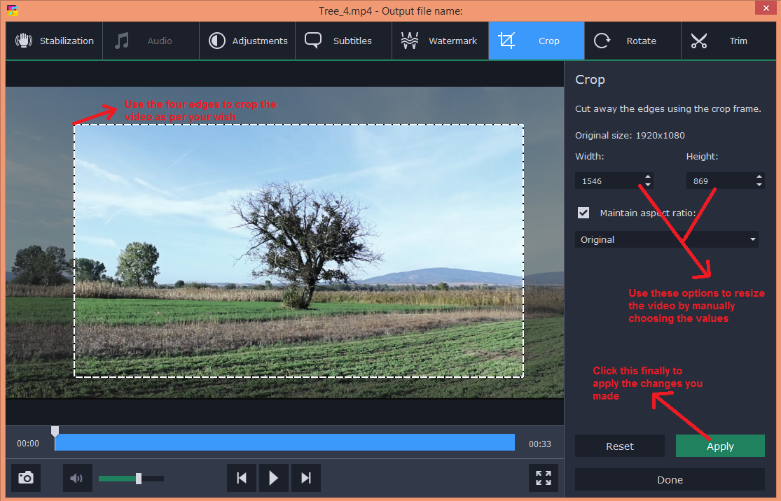 movavi video converter edit crop
