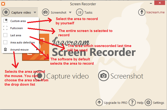 ice cream Screen recorder capturevideo options