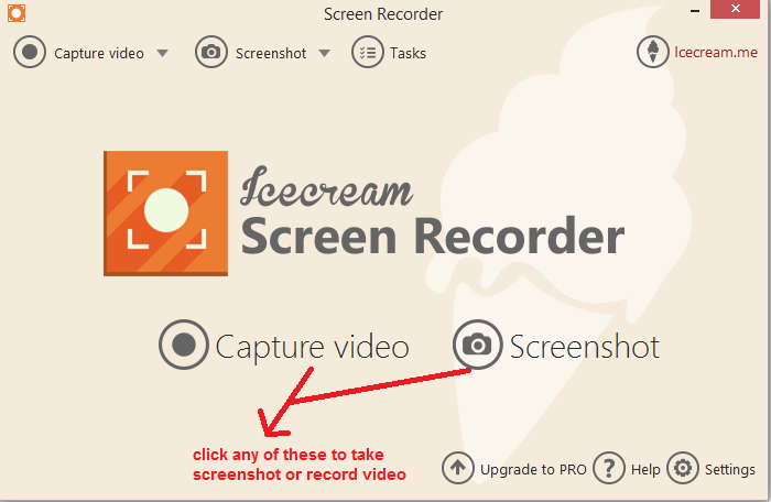ice cream Screen recorder mainscreen