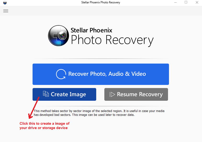 stellar photo recovery createimage