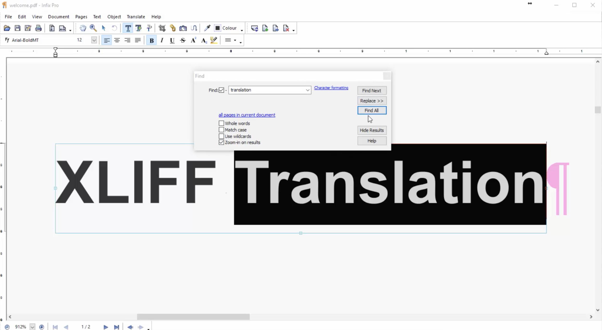 Infix PDF Editor translation