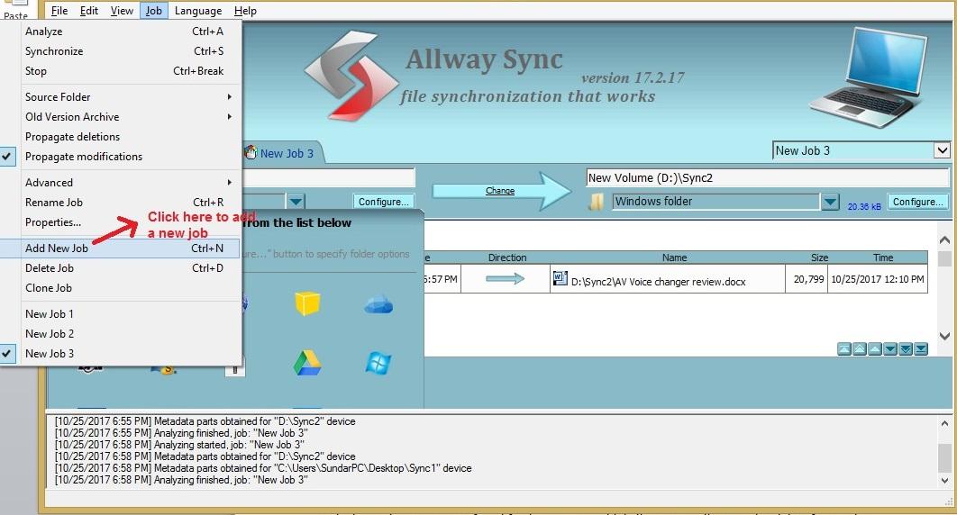 Allway Sync addjob