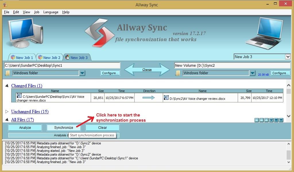 Allway Sync synchronization