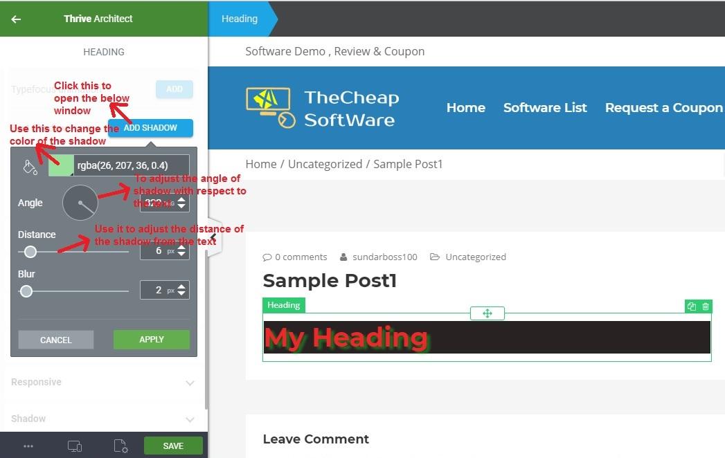 Thrive Architect textshadow
