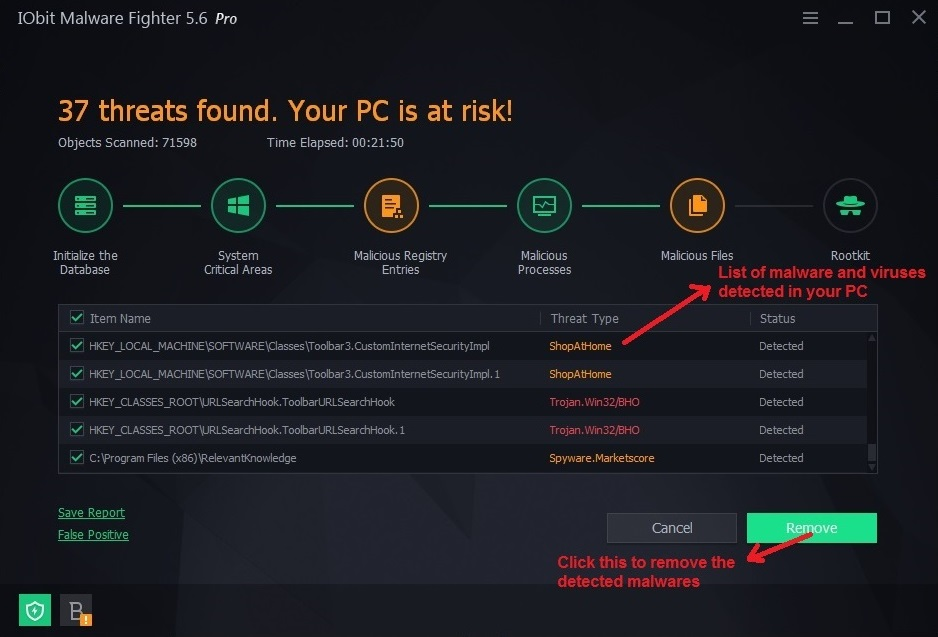 IObit malware fighter scanning