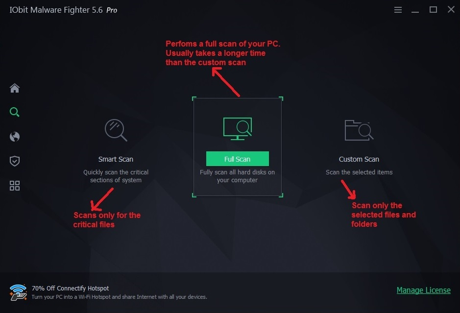 IObit malware fighter scanpage