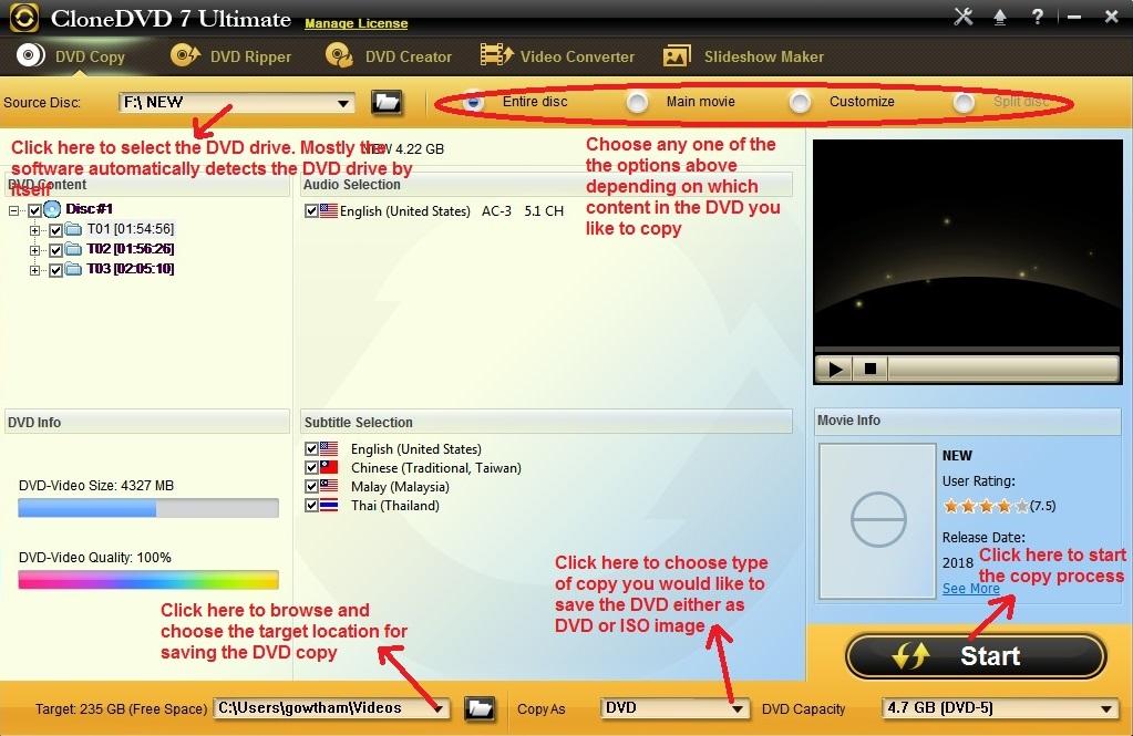 Clone DVD Ultimate DVD copy