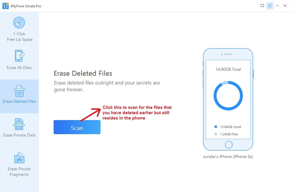 Umate PRO erase deleted files