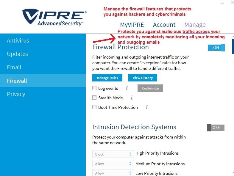 Vipre Antivirus manage firewall