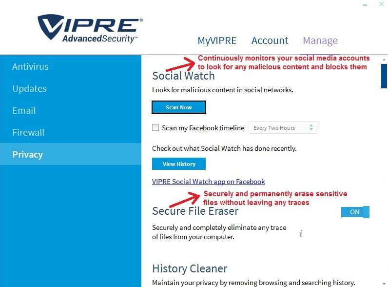Vipre Antivirus manage privacy