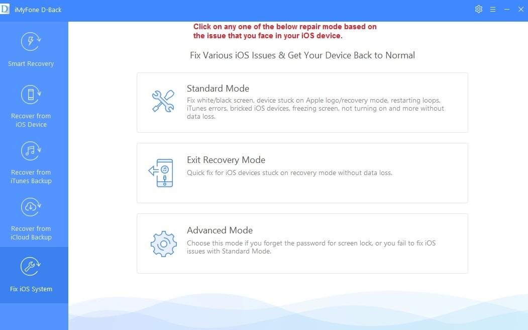 iMyFone D-Back fix ios
