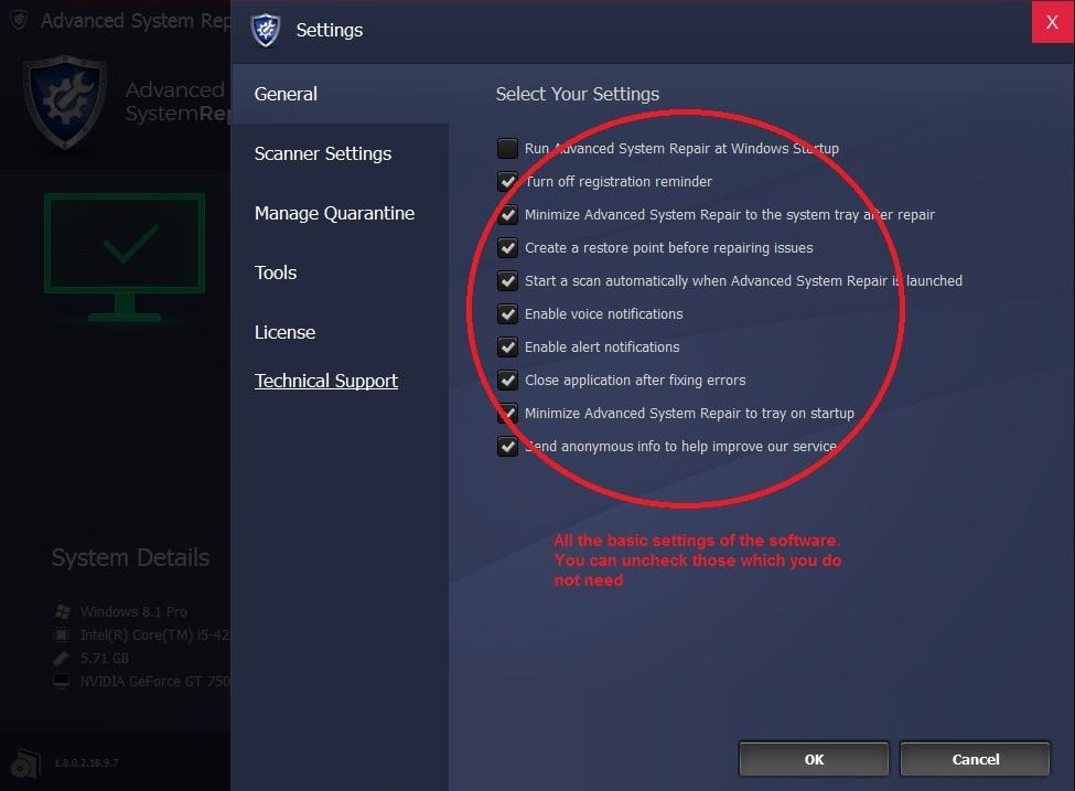 Advanced System Repair menu general