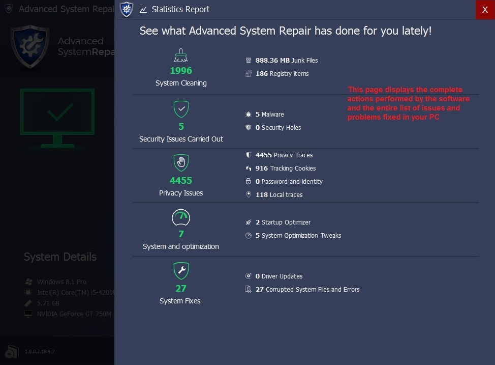 Advanced System Repair statistics