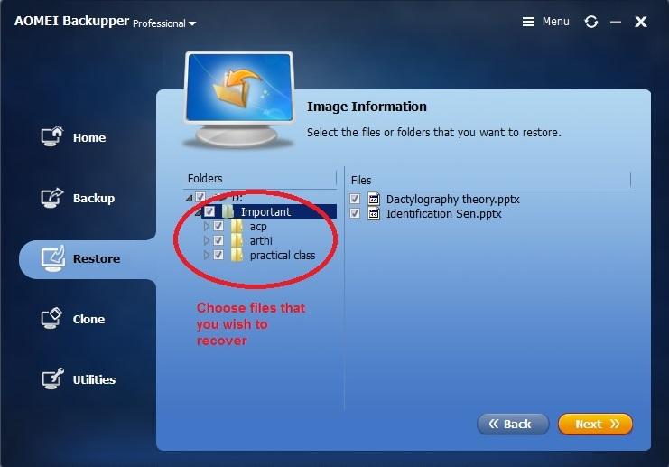 Aomei Backupper Restore choose files