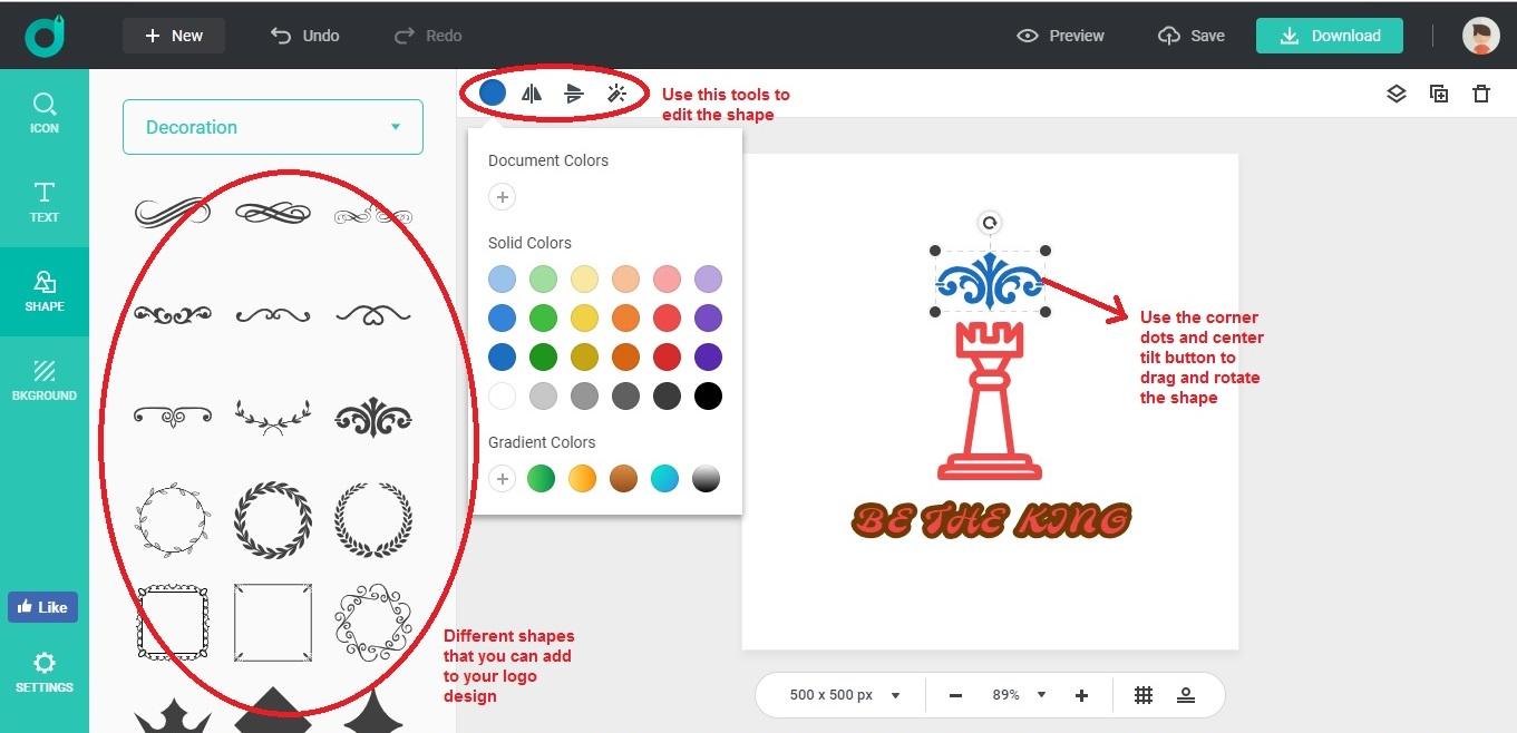 DesignEvo edit scratch shape