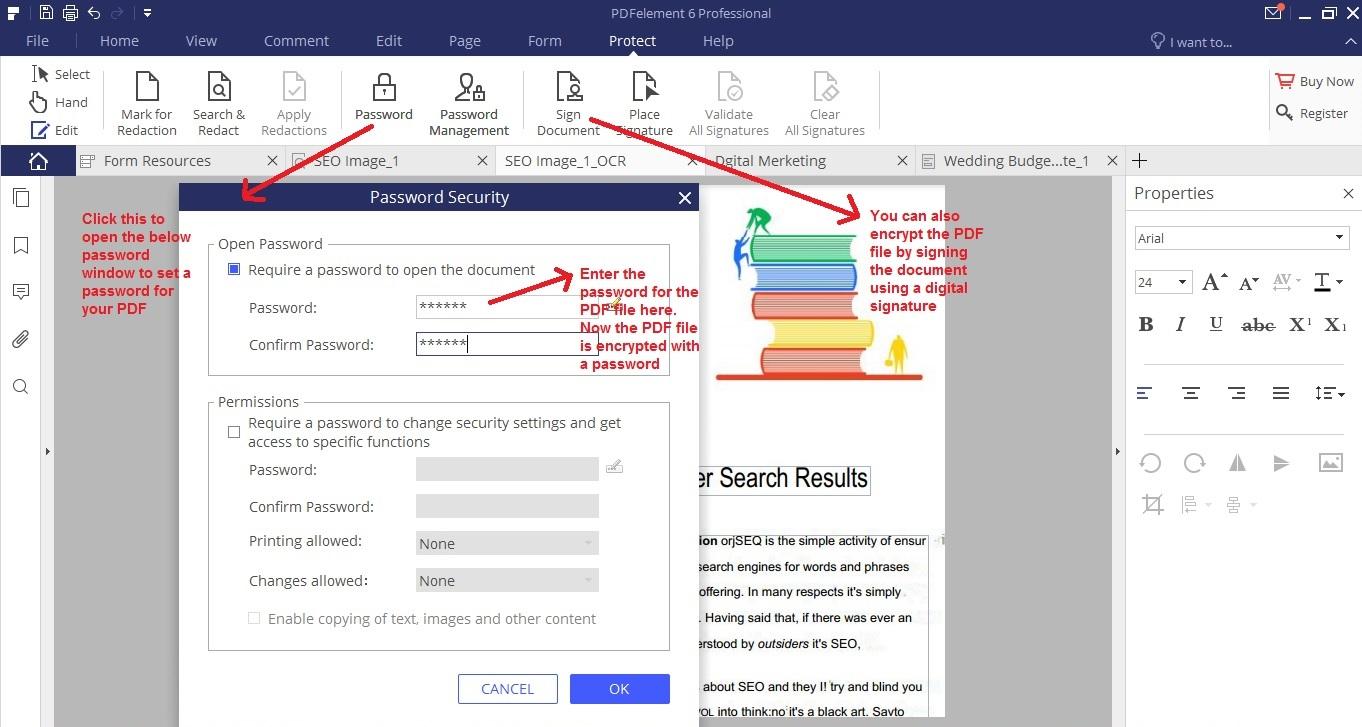 Wondershare PDFelement protect tab