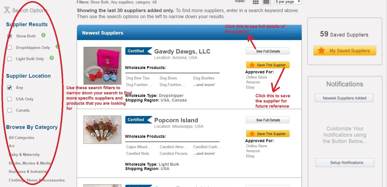 Worldwide Brands search tab search filter