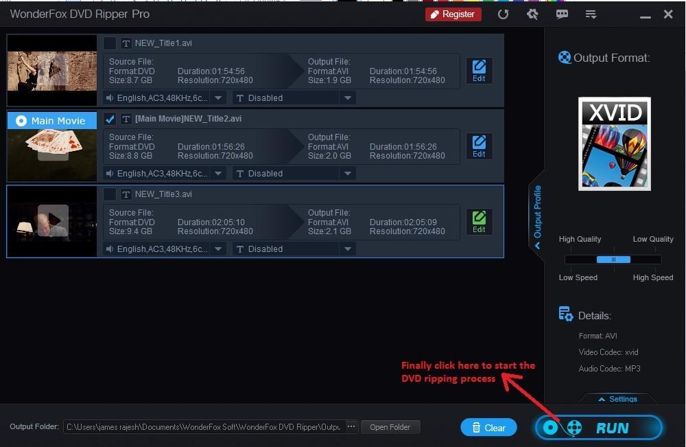 Wonderfox DVD Ripper run process