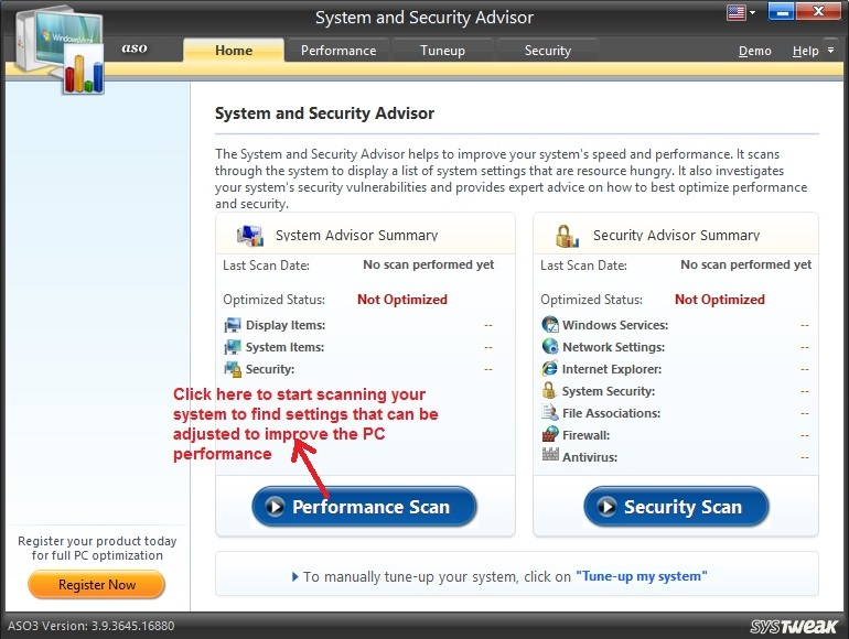Advanced System Optimizer System and Security Advisor