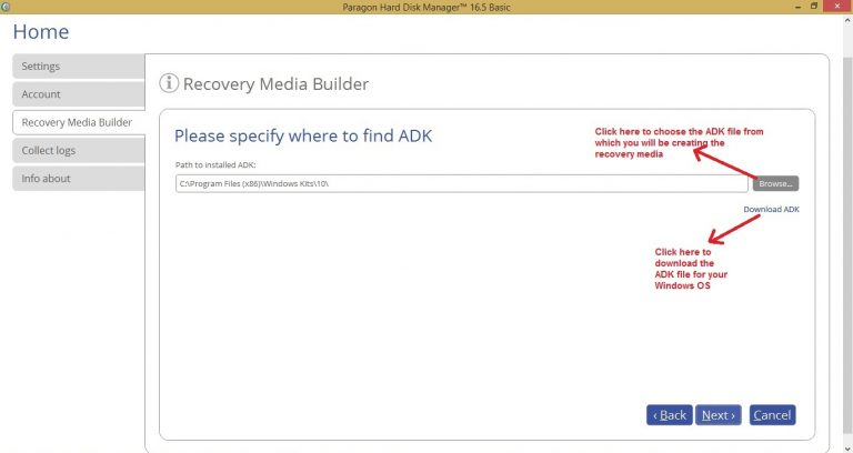Paragon HDM recovery media choose ADK