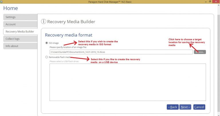 Paragon HDM recovery media choose media format