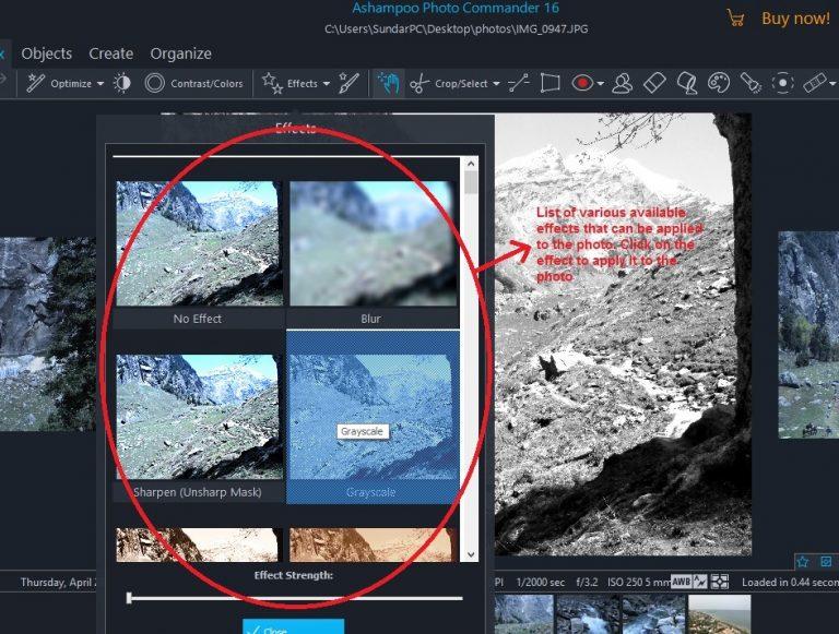 Ashampoo Photo Commander quick-fix effects