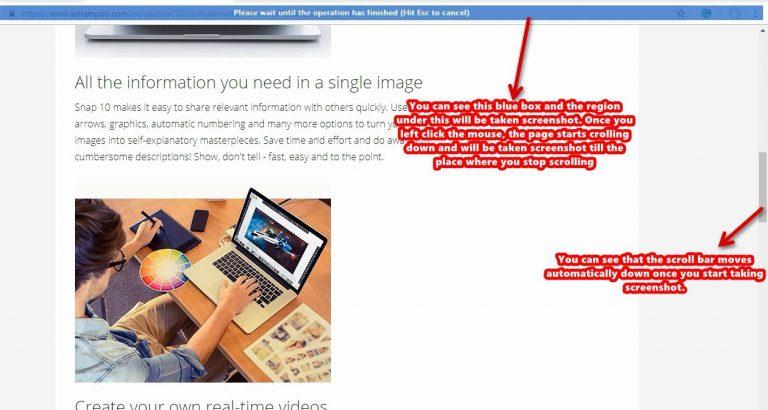 Ashampoo Snap screenshot scroll window