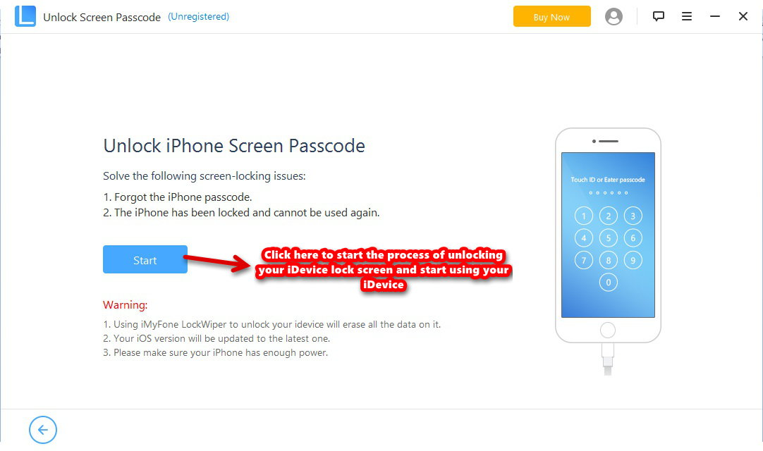 iMyFone LockWiper unlock lock screen start process