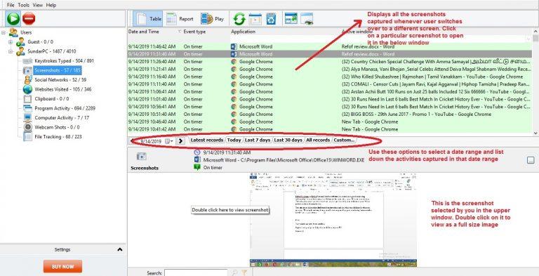 List of Screenshots